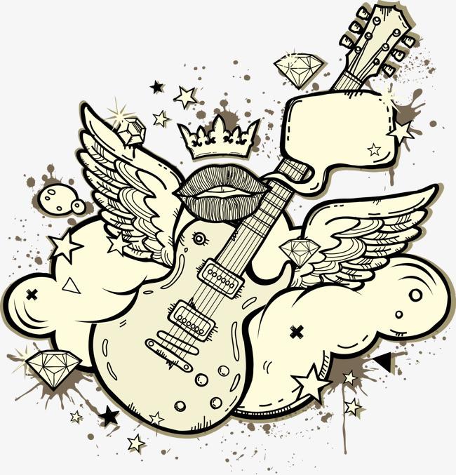 素描抽象幻想吉他元素图片