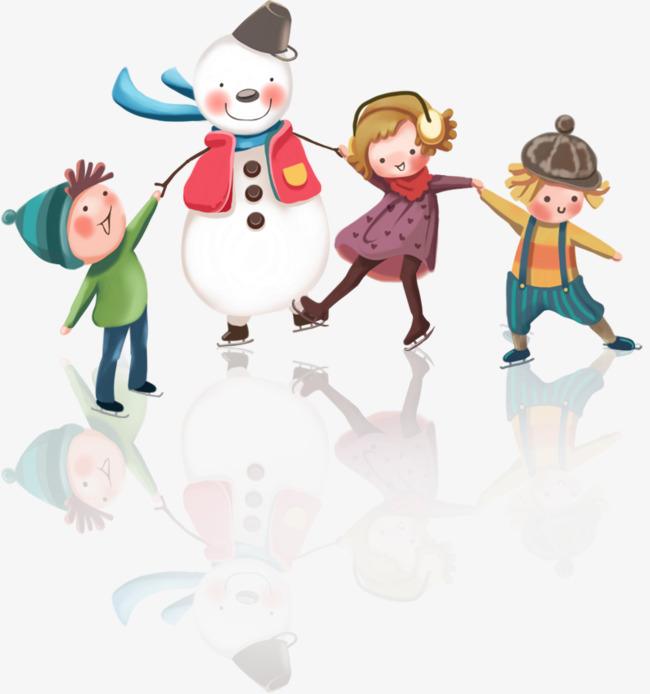和雪人玩耍的小孩图片