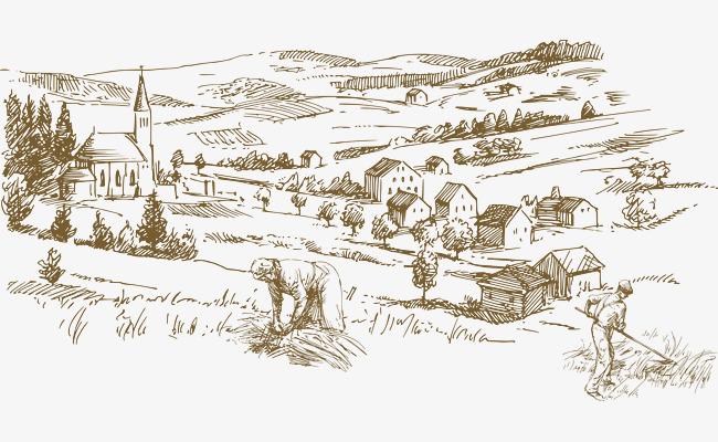手绘农场矢量图线条牧场丰收-手绘农场矢量图素材图片免费下载 高清