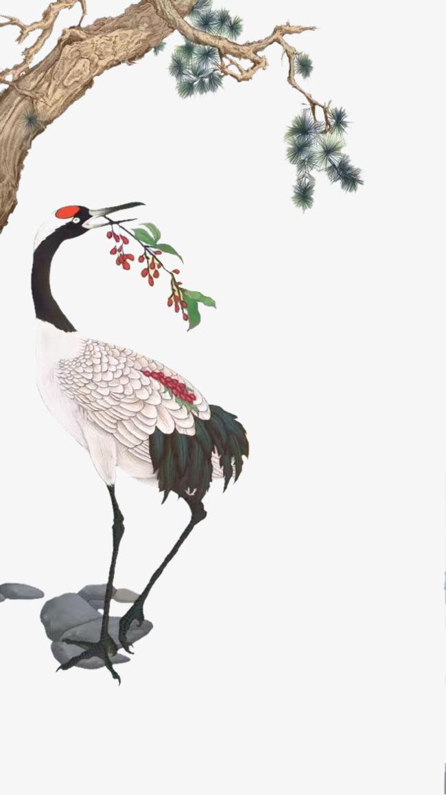 手绘丹顶鹤素材图片免费下载 高清装饰图案png 千库网 图片编号4904972图片