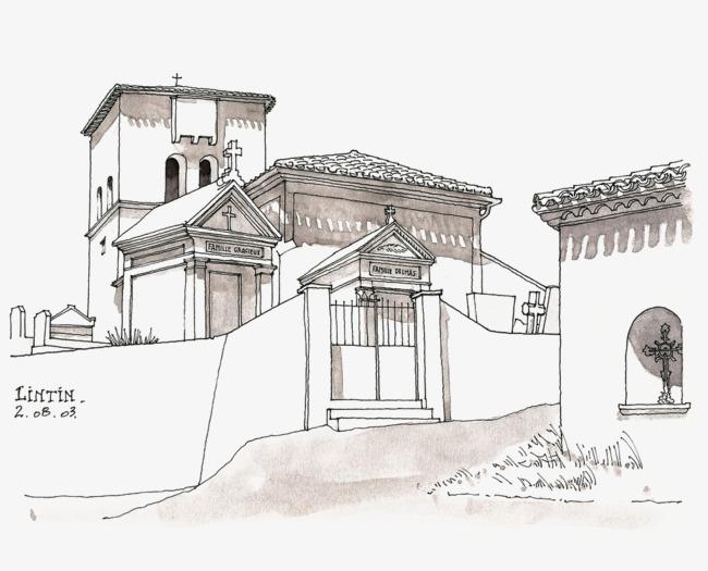 手绘建筑线稿风景线稿线描风景建筑场景建筑风景风景手绘线稿手绘建