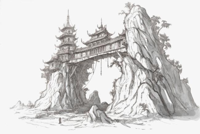 手绘古风建筑场景线稿图片