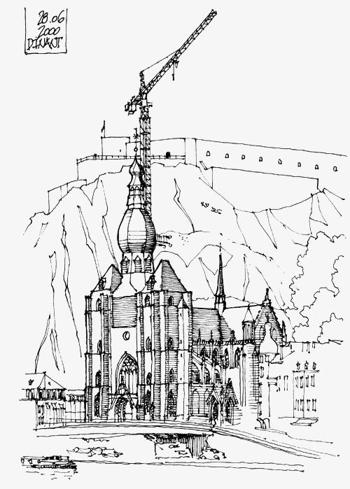 手绘建筑场景线稿
