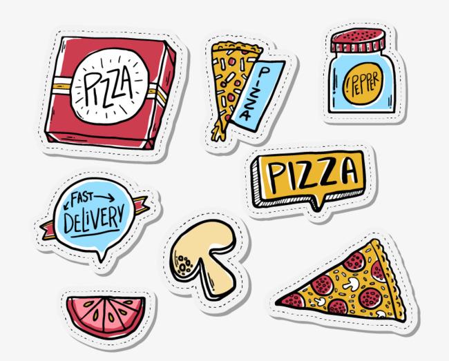 食物手绘漫画披萨
