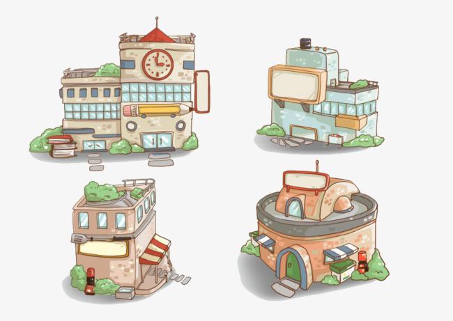 四个可爱的小房子【高清png素材】-90设计
