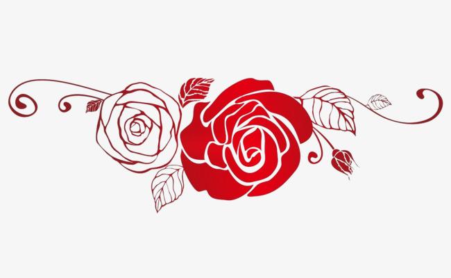 玫瑰花剪影_红色玫瑰花剪影