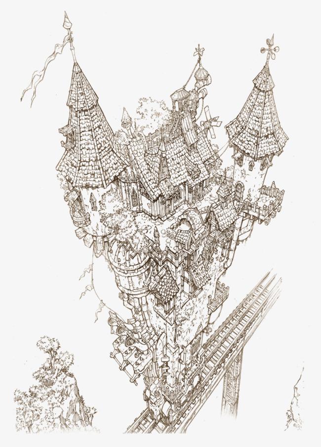 西欧风格建筑手绘