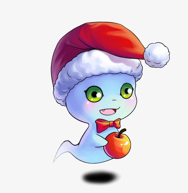 戴圣诞帽的蓝色小幽灵png素材-90设计