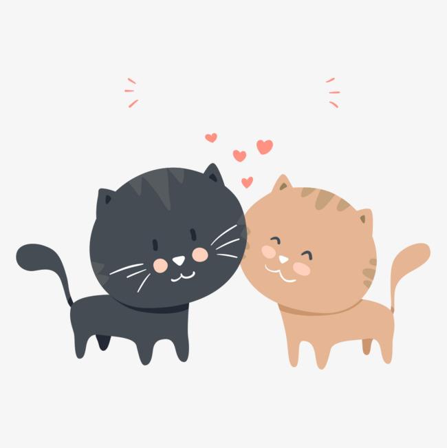图标矢量_矢量可爱卡通情侣猫咪png素材-90设计