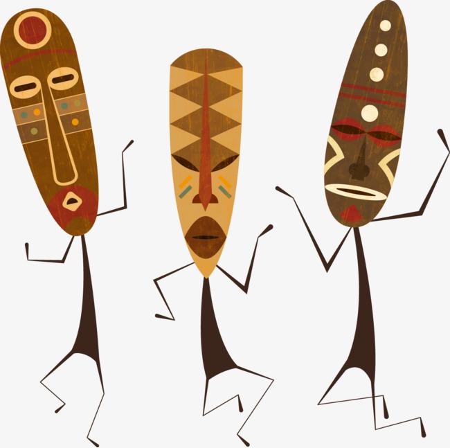 矢量手绘非洲面具民族文化