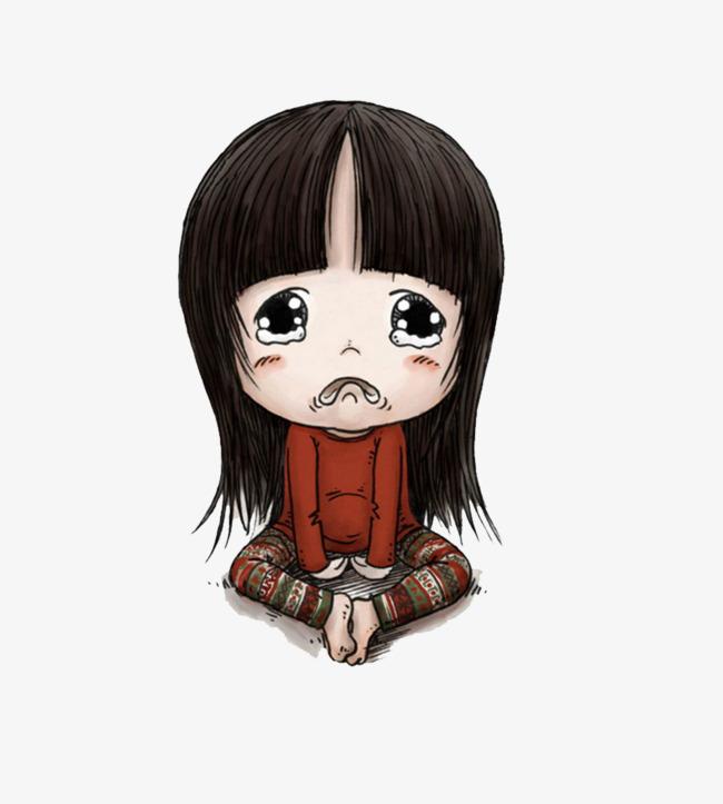 哭脸卡通女娃娃素材图片免费下载 高清装饰图案psd 千库网 图片编号