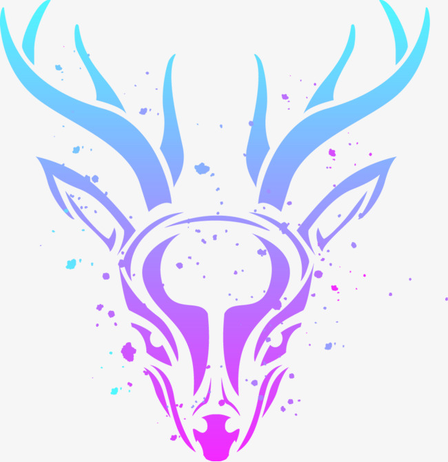 矢量手绘星空颜色鹿
