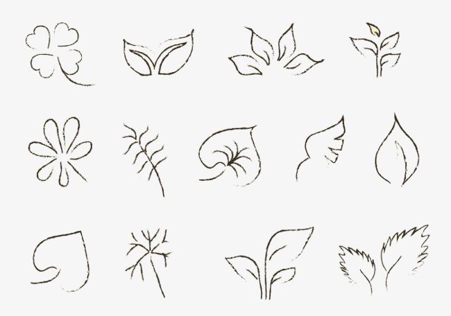 手绘各种小树叶小草