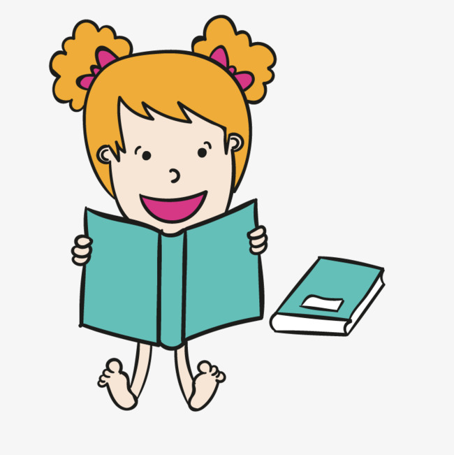 手绘读书女孩