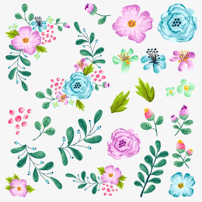 水粉花卉图案png素材-90设计