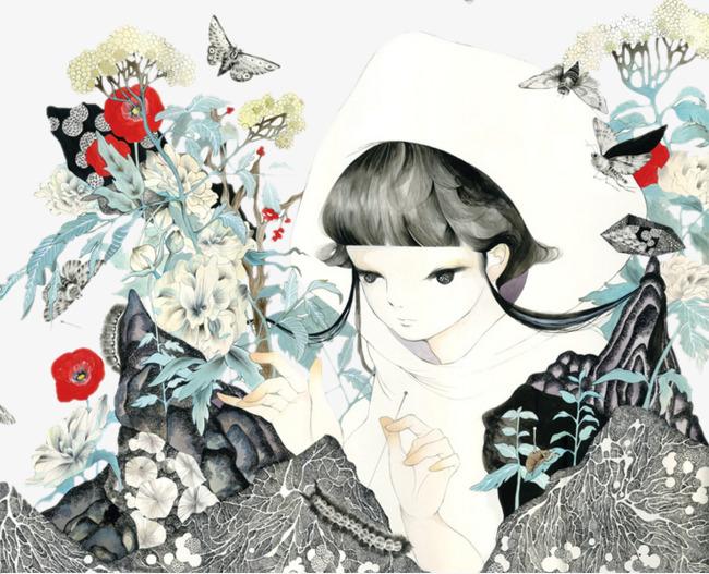 少女鲜花插画【高清装饰元素png素材】-90设计