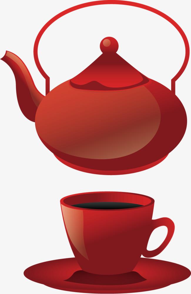 矢量手绘红色茶杯茶壶素材图片免费下载 高清装饰图案psd 千库网 图
