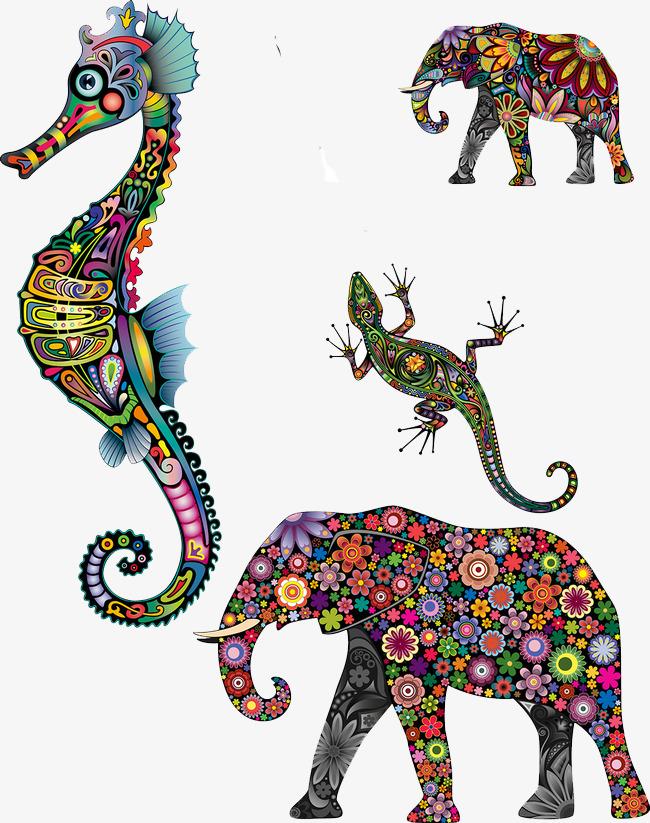 矢量彩绘动物图案