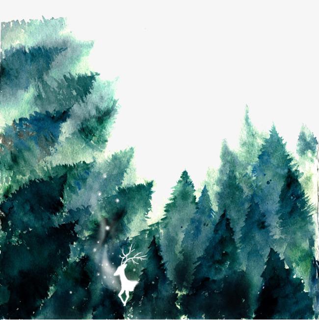 手绘森林【高清png素材】-90设计