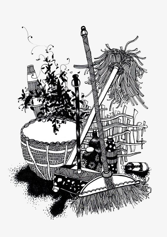 中国风色彩拖把水缸扫把黑白图