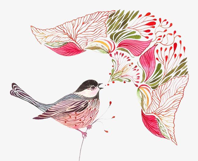 水彩动物喜鹊手绘插画