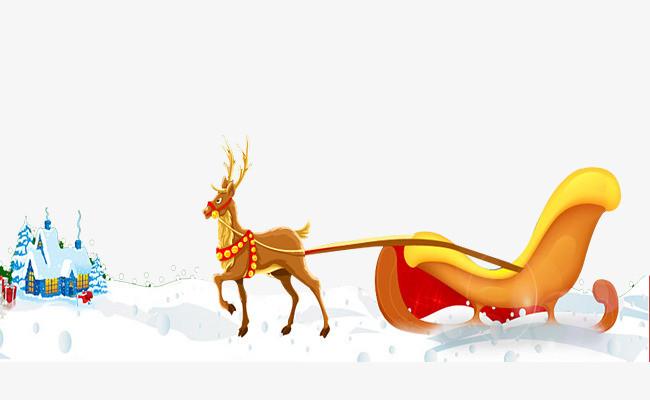 麋鹿拉雪橇图片