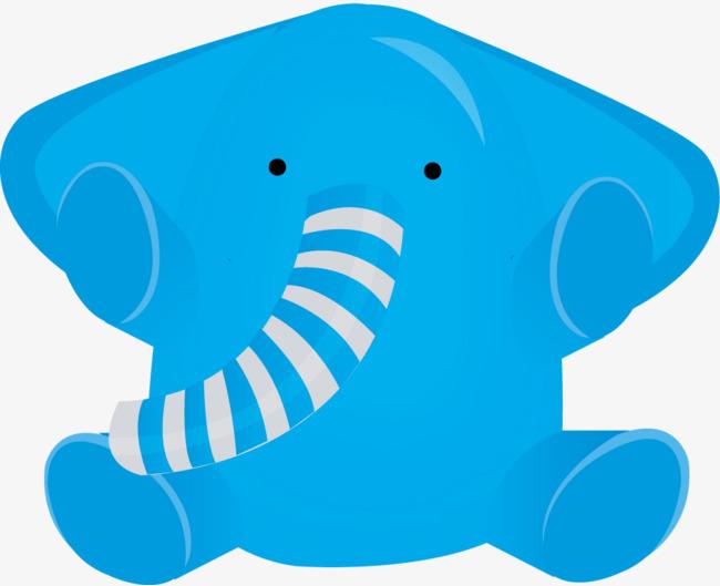 矢量创意可爱蓝色小象玩偶图