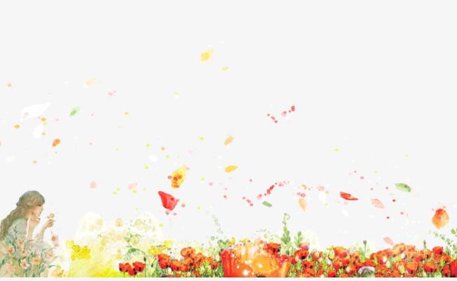 手绘鲜花花丛