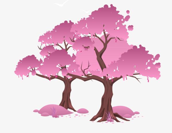 卡通的手绘樱花树