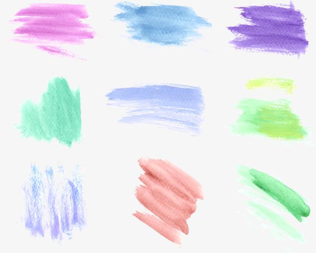 矢量手绘彩色水彩笔触【高清效果元素png素材】-90设计