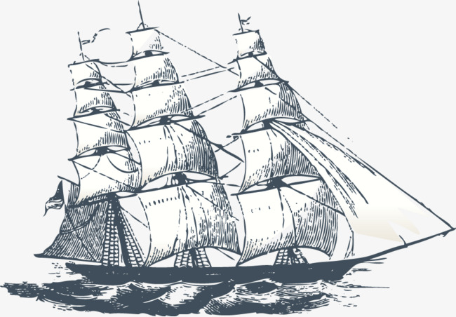 帆船手绘素材