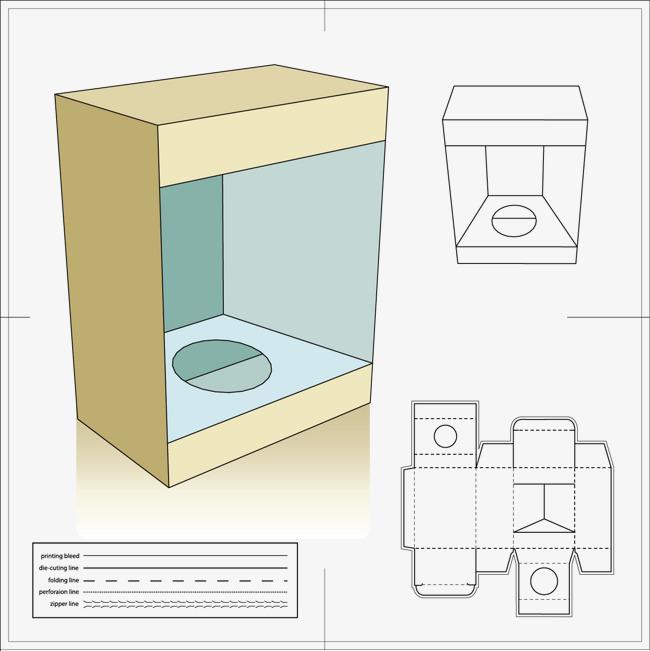 150 dpi 源文件格式: ai  异形模切 包装效果图 包装盒展开图 刀模图图片