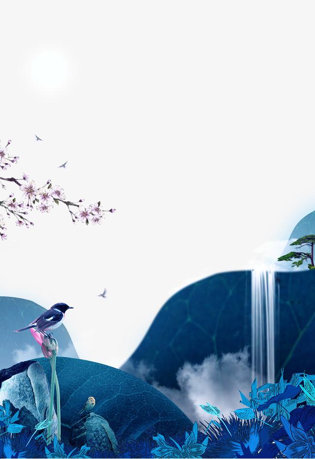 花鸟山水风景png素材-90设计