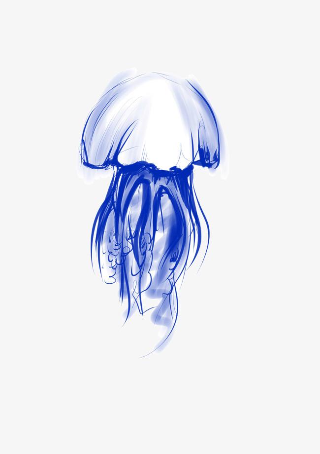 手绘蓝色水母