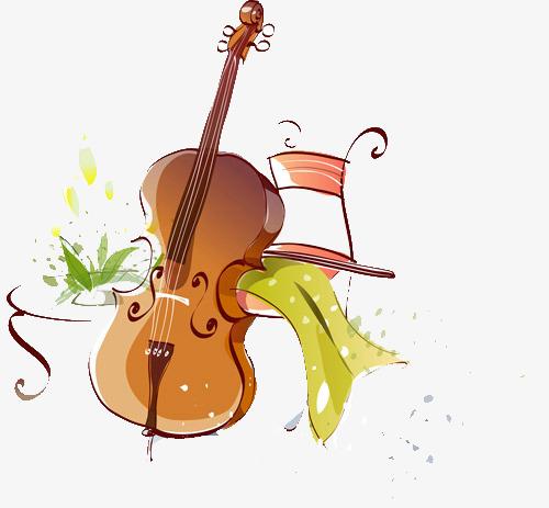 手绘小提琴图片