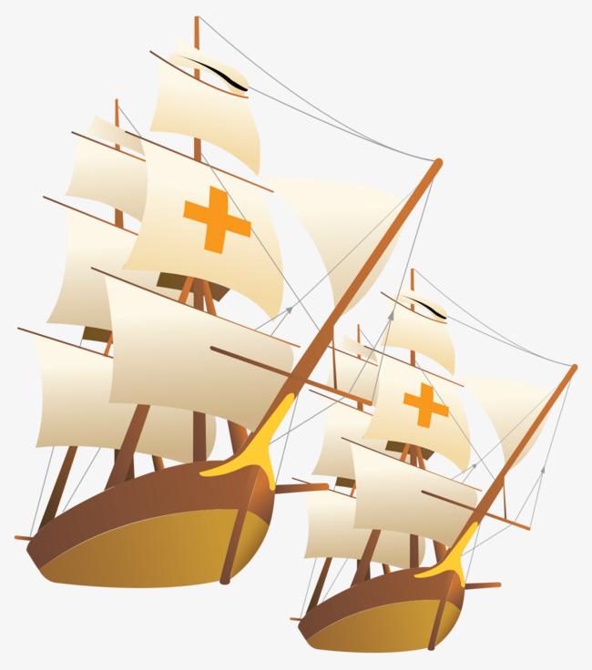 卡通手绘古代帆船