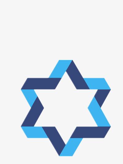 立体六角星边框png素材-90设计