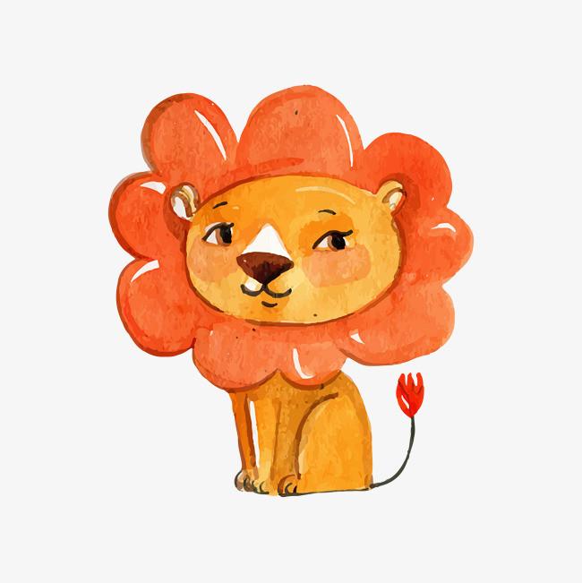 狮子 可爱 手绘 橙色             此素材是90设计网官方设计出品,均