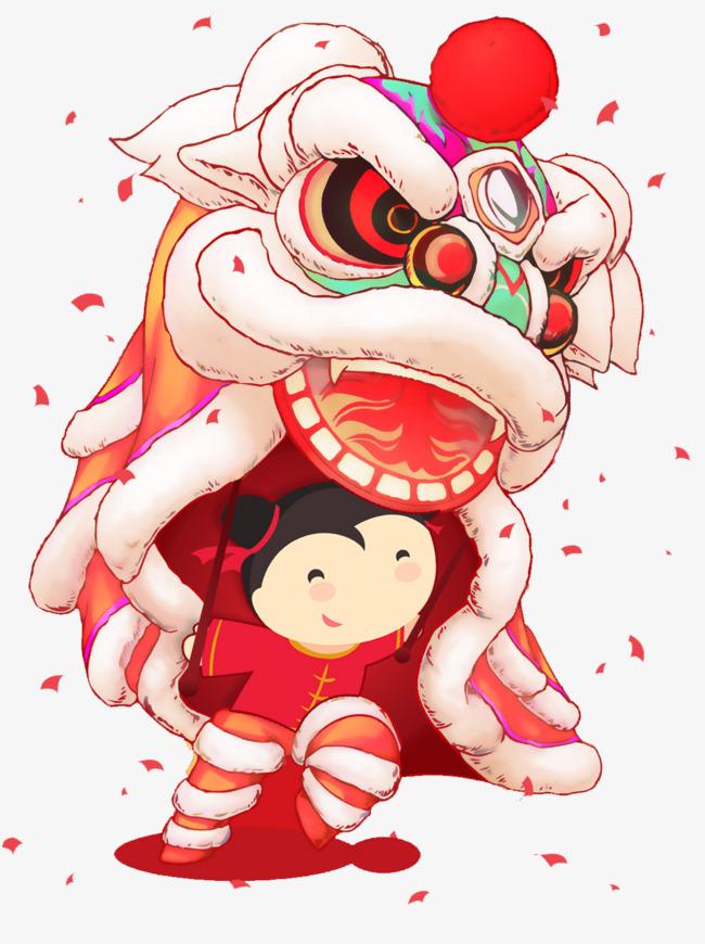 春节新年舞狮卡通图案