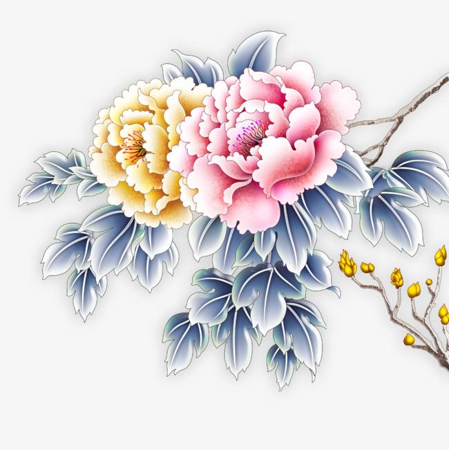 彩雕牡丹花