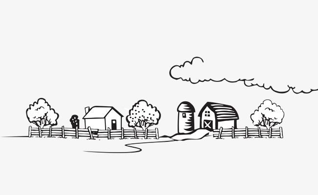 手繪卡通黑白鄉村風景