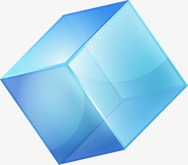 矢量手绘蓝色立体正方形