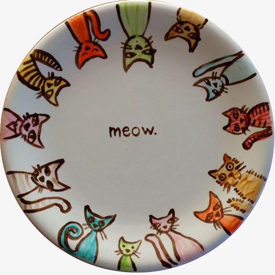 卡通猫盘子