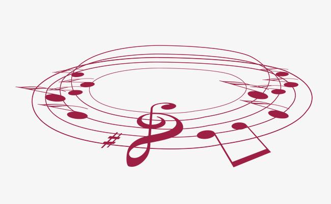 卡通背景_创意圆圈卡通音符png素材-90设计