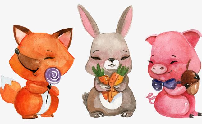 矢量手绘卡通动物矢量手绘插画水彩卡通兔子小猪-矢量手绘卡通动物