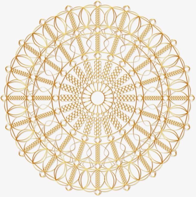 矢量手绘金色圆形花纹图案