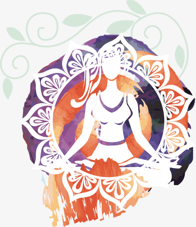 手绘瑜伽装饰画矢量
