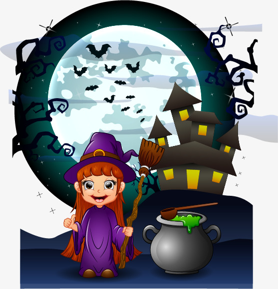 可爱女巫万圣节创意广告矢量素材