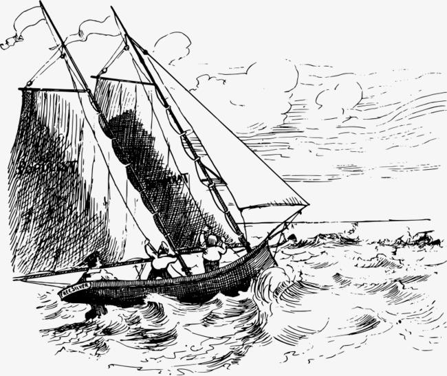 海上风浪的帆船手绘png素材-90设计