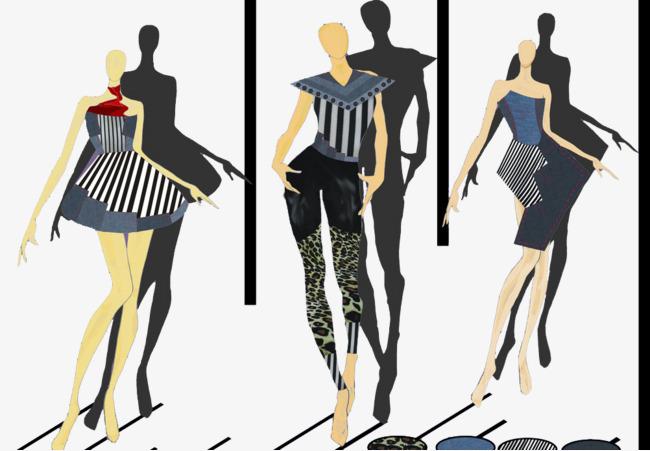 本次抽象手绘服装模特作品为设计师看我空间照片创作,格式为png,编号